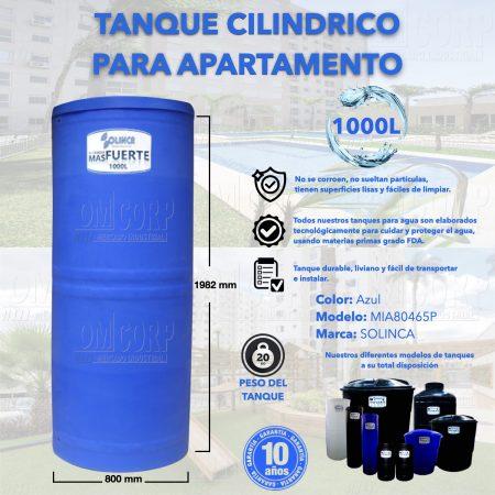 Tanque 1000 Litros Plastico Azul Cilindrico Apartamento