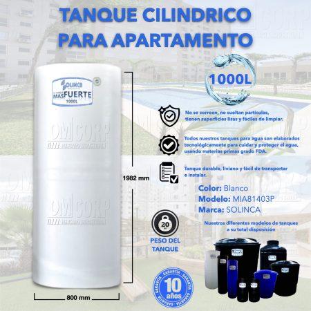 Tanque de Agua 1000 Litros Plastico Blanco Cilindrico Apartamento