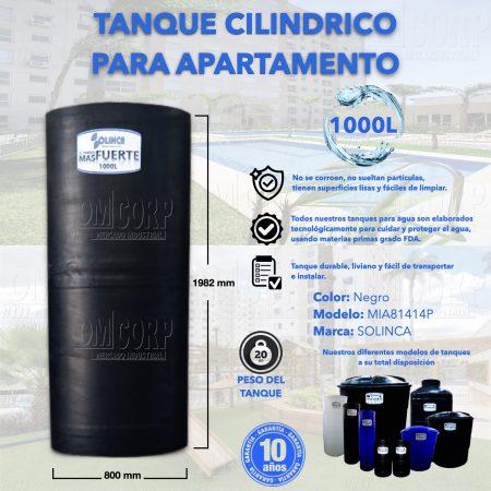 Tanque de Agua 1000 Litros Plastico Negro Cilindrico Apartamento